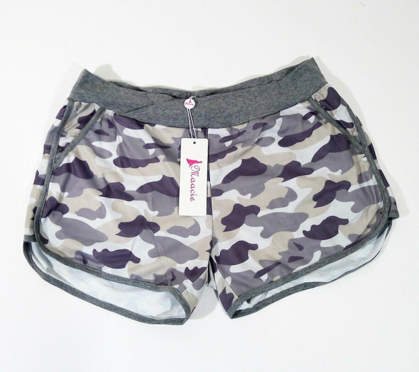 Maacie Women's Camouflage Stretch Pocket Yoga Maternity Shorts Size L - NEW