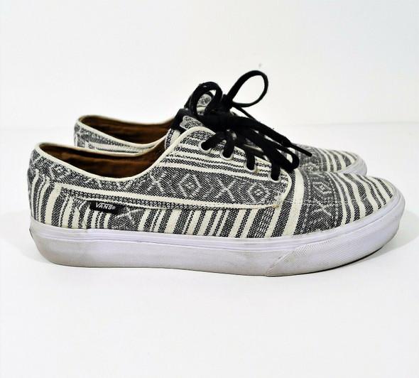 Vans Unisex Black & Ivory Print Skateboard Lace Up TC7H Shoes Men 8.5 Women 10