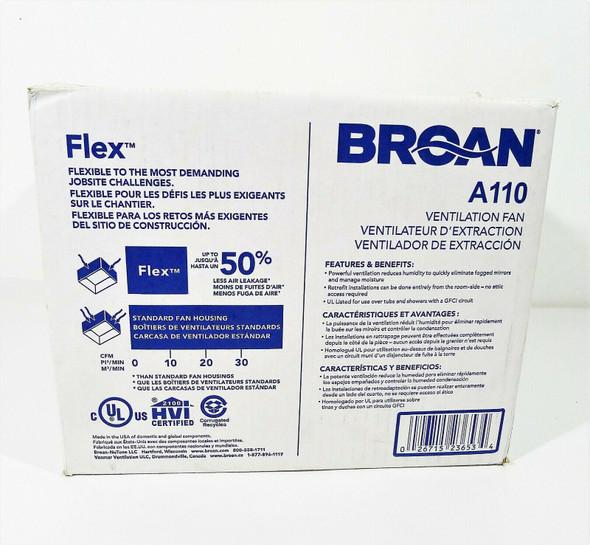 Broan White Invent Flex Ventilation Fan 110 CFM 3.0 Sones AE110 - NEW