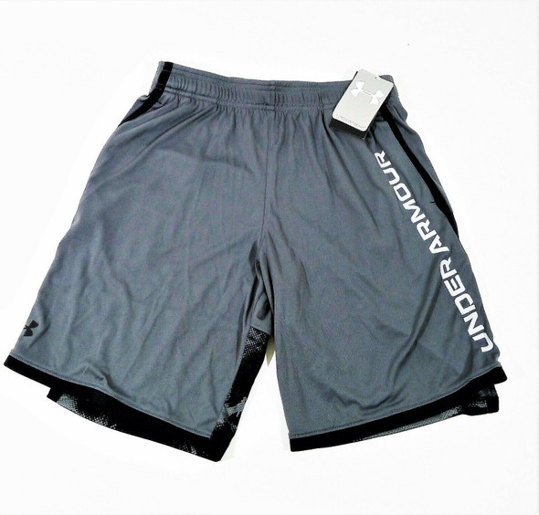 Under Armour Boy's Gray Stunt 3.0 Printed Shorts Size Youth Large *NEW WITH TAGS