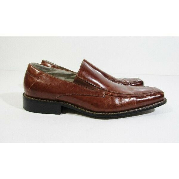 Stacy Adams Men's Brown Leather Bike Toe Loafers Size 11M **Has Scuff Marks**
