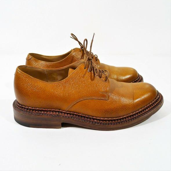 Grenson Men's Tan Pebbled Leather Triple Welt Oxford Shoes Size 7G
