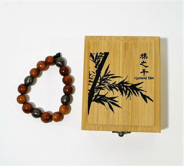 "Hatano Sen The SŌHEI Bracelet 9"" Large Steel and Rose Wood Beads - OPEN BOX"