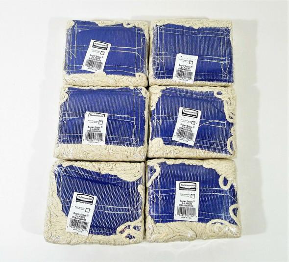 Set of 6 Rubbermaid Commercial Super Stitch Blend Mop Cotton/Synthetic X-Large