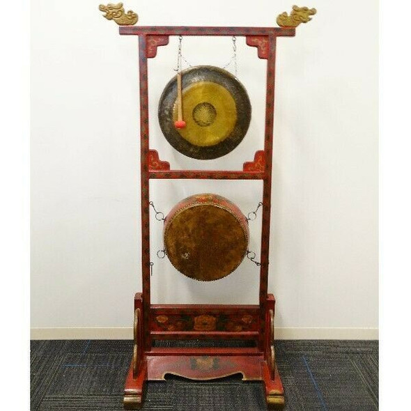 Hand-Painted Oriental Gong with Drum and Stand  LOCAL PICKUP ONLY, AUSTIN TX