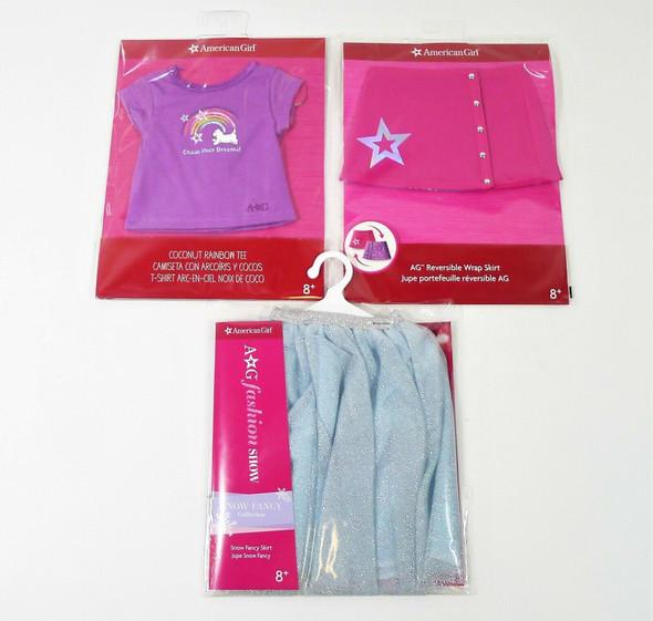 American Girl Doll Clothes - Coconut Rainbow Tee, Wrap Skirt, and Fancy Skirt