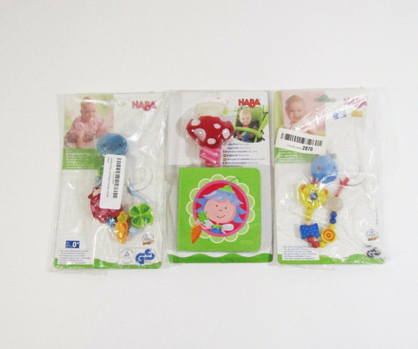 Haba Mixed Lot w/ 2 Wooden Pacifier Chains & 1 Buggy Book **NEW IN PACKAGE**