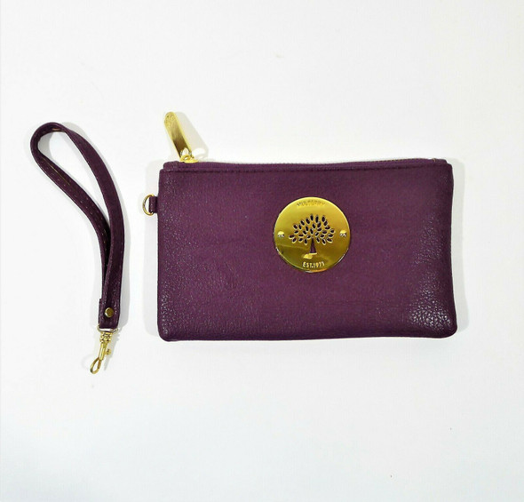 Mulberry Women's Deep Purple Leather Zip Up Wristlet **BROKEN CLASP ON STRAP