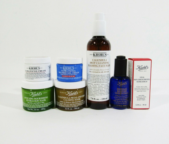 Lot of 7 Kiehl's Skin Care-Midnight Recovery, Ultra Facial Cream & More **NEW**