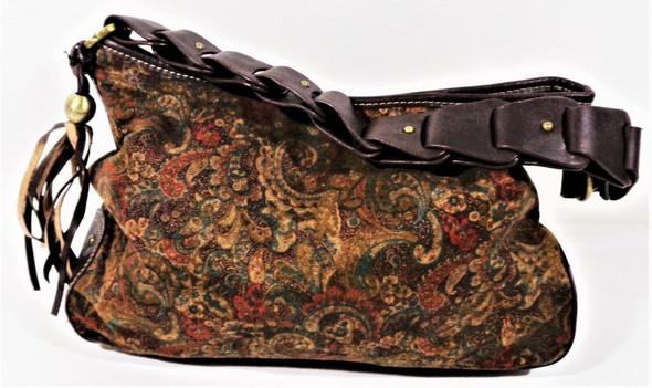 Tommy Hilfiger Brown Paisley Textile Shoulder Bag w/ Leather Strap