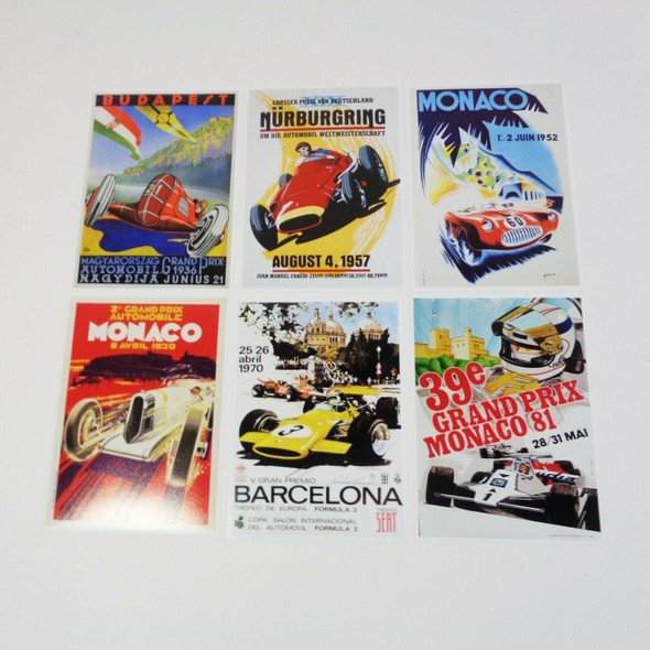 Wallbuddy Set of 6 Car Racing Grand Prix Mini Posters *NEW, Open Package*