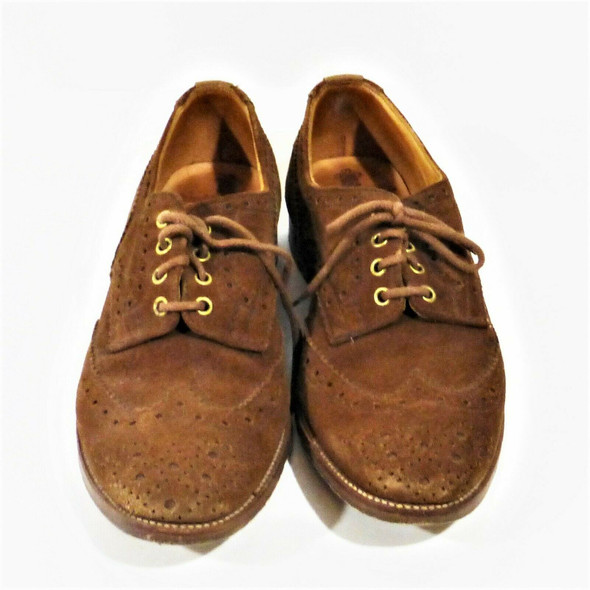 Tricker's Wingtip Derby Brogue Men's Brown Suede Dress Shoes *See Description*