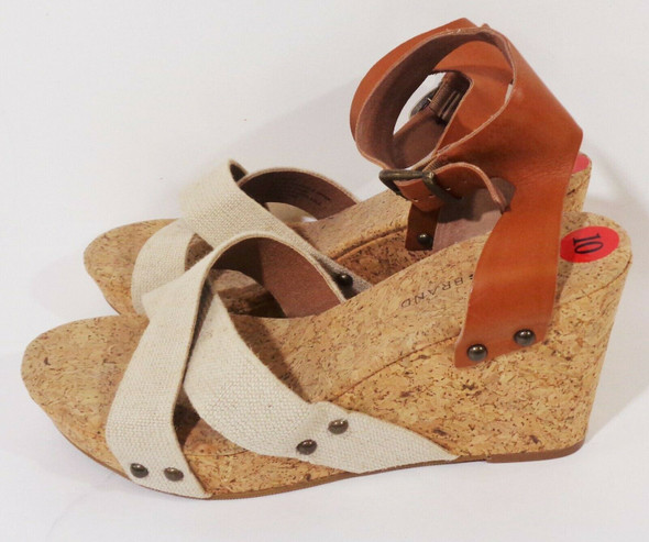 Lucky Brand Leather Strap Cork Wedge Heels Size 10