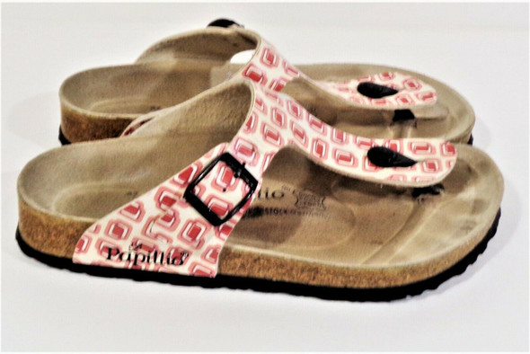 Papillio Pink Pattern Pink Funky Pattern Thong Sandals Size 6.5 *Stains*