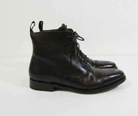 Anthony Veer Men's Dark Brown Leather Plain Cap Toe Boots Size 8 **See Descr.**
