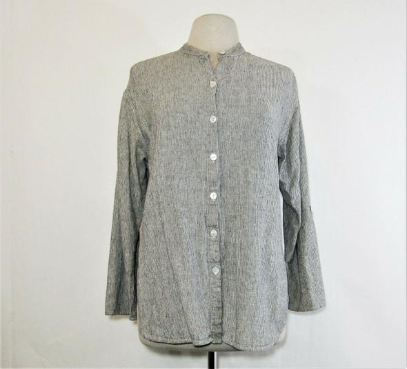 Chico's Design Women's Black & White Striped Button Up Blouse Size 1/Medium