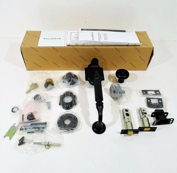 Baldwin Satin Black 85305.190.ENTR Canterbury Single Cylinder Handleset OPEN BOX