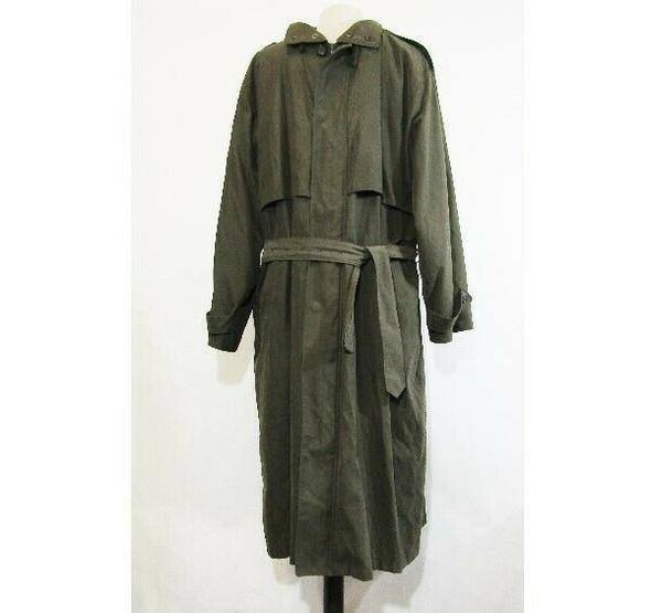 London Fog Men's Dark Green Full Zip Hooded Trench Coat w/ Belt Size 38 Regular
