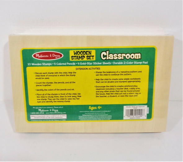 Melissa & Doug Wodden Stamp Set Classroom Toy Ages 4+ *New*