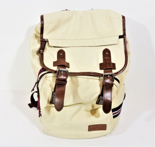 AVI-8 Beige Canvas Backpack w/ Brown Leather Trim *Stain on Bottom*