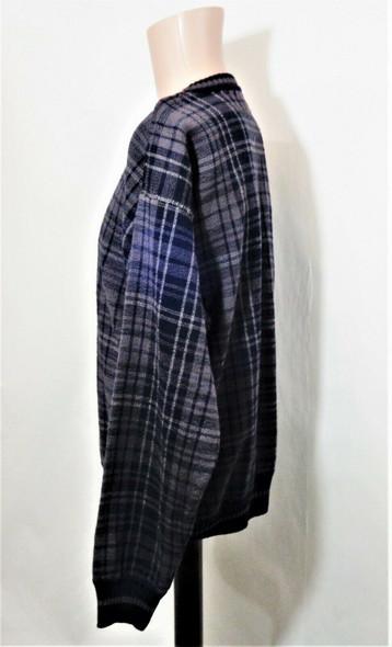 Croft & Barrow Grey & Black Plaid Pullover Sweater Men's Size M