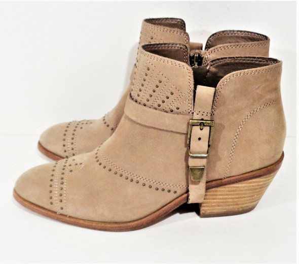 Vince Camuto Light Brown Studded Suede Booties Women's Size 7.5