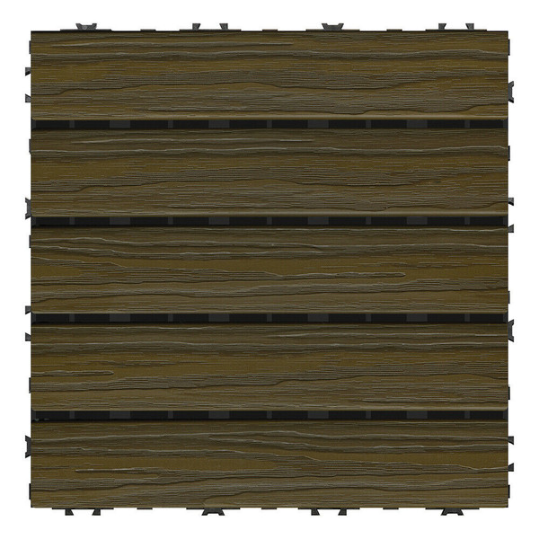 """Aura Pre-Finished Polymer Deck Tile in Walnut 12""""x12"""" (6 SQ. FT. Total)  NEW"""