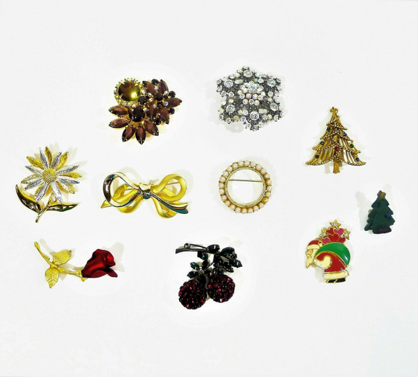 Lot of 10 Assorted Brooches Lapel Pin Working Condition -**TREE MISSING STONES