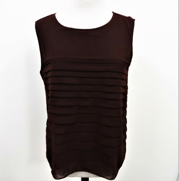 New York & Company Women's Burgundy Sleeveless Top Size XL *Defects*