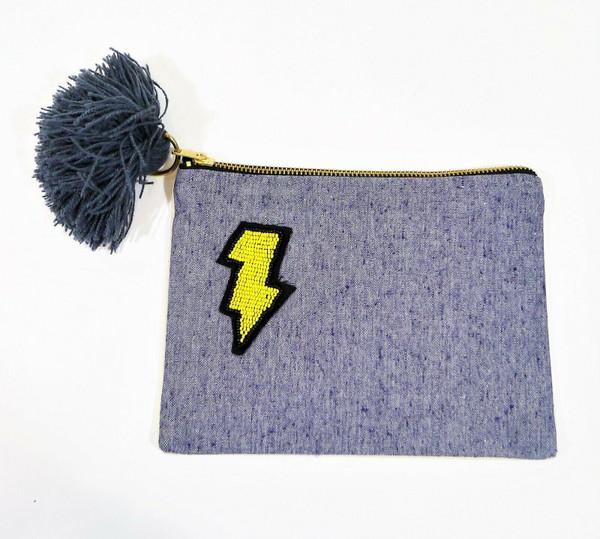 "West Elm Denim Beaded Lightning Bolt Pouch 9"" x6.5"" Zip Cosmetic Travel Bag NEW"