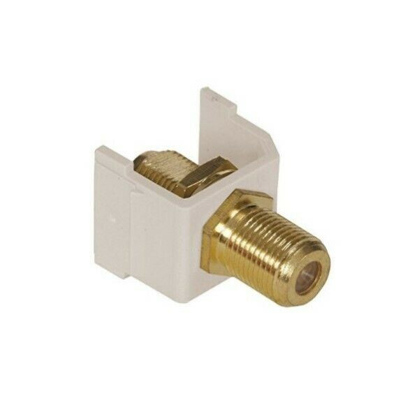 Lot Set of 11 Hubbell SFFGLA Snap-Fit Gold F-Coax Connector, Light Almond,  NEW