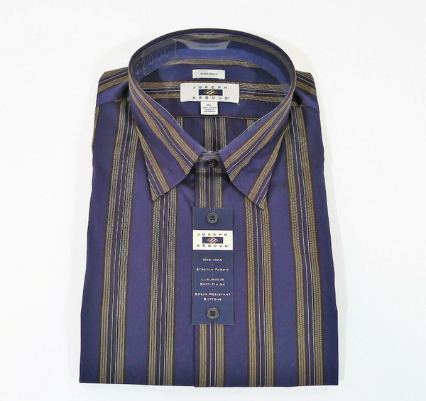 Joseph Abboud Navy Stripe Long Sleeve Sport Shirt Size XL - NEW