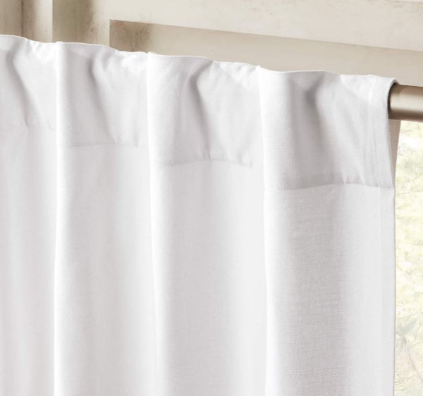 "CB2 White Basketweave II Curtain (1) Panel 48"" x 96"" - LIGHT DIRT AND LINT"