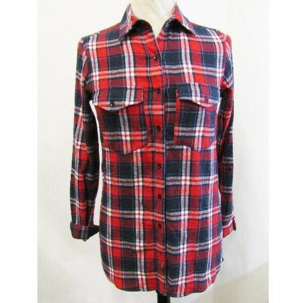 Japna Red & Blue Plaid Long Sleeve Women's Flannel Shirt NWT Size S