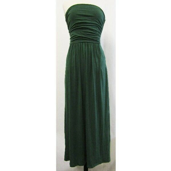 Grace Karin Green Strapless Ruched Women's Maxi Dress NWT Size S