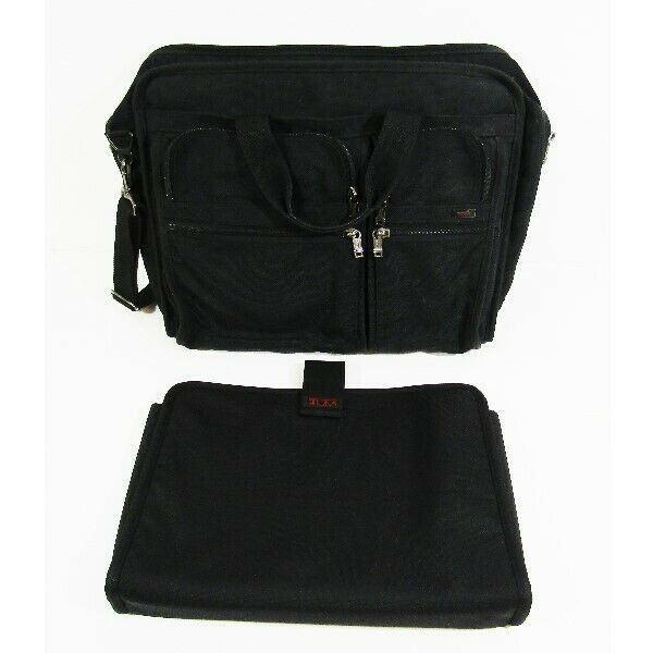 Tumi Black Large Expandable Crossbody Briefcase w/ Laptop Bag 20x16x5