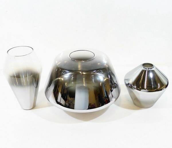 3 West Elm Silver Ombre Sculptural Glass Shades LOCAL PICKUP ONLY, AUSTIN TX