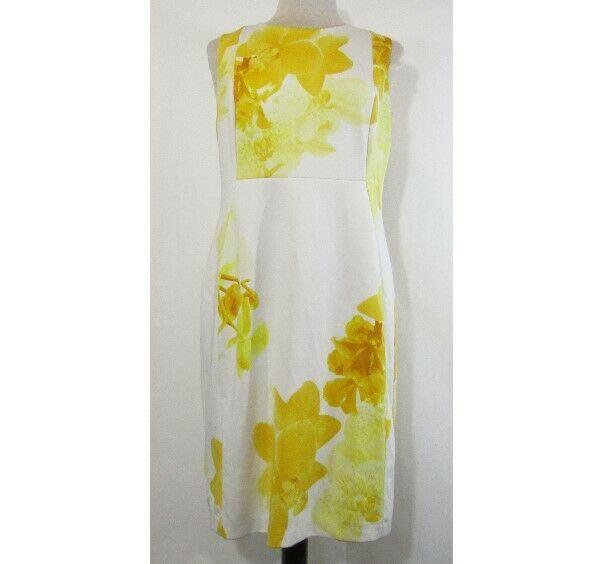 Calvin Klein Women's Yellow & White Floral Half Zip Dress Size 14 *Has Stain*