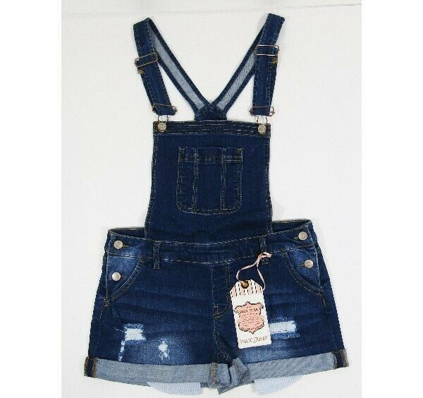 Wax Jean Women's Medium Wash Denim Overall Shorts Size Small **NEW WITH TAGS**