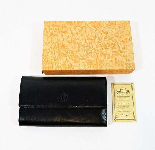 """Allengo Black (Noir) Leather Women's Wallet 7.25"""" W x 4"""" T x 1.5"""" D - NEW IN BOX"""