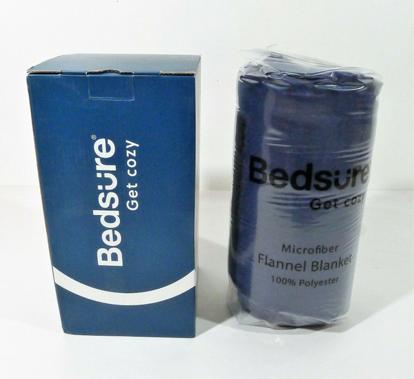 "Bedsure Blue Microfiber Flannel Blanket Twin Size 60"" x 80"" - NEW"