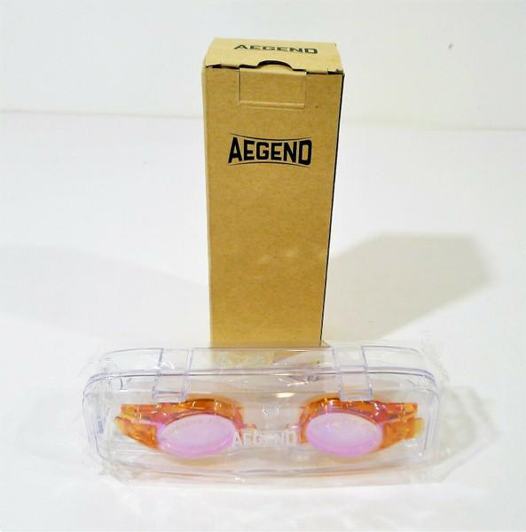 Aegend Kid's Anti Fog Orange Mirrored Swim Goggles with Case - NEW