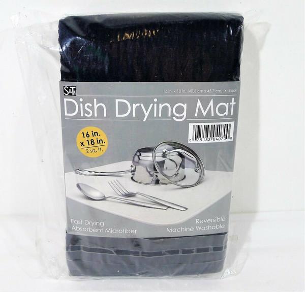 "S&T Inc. Black Microfiber Dish Drying Mat for Kitchen 16"" x 18"""