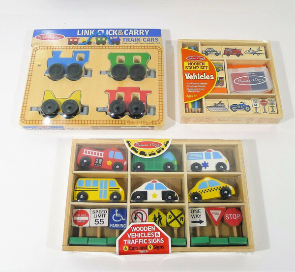 Set of 3 Melissa and Doug Vehicles - Train Cars, Vehicles & Signs and Stamp Set