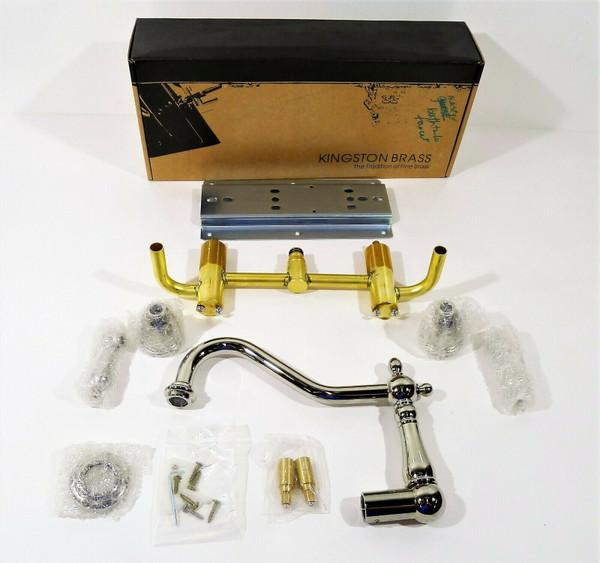 Kingston Brass KS1026AL Heritage Wall Mount Tub Faucet Polished Nickel *OPEN BOX