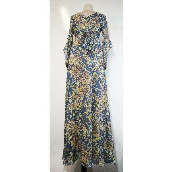 BCBG Maxazria Women's Blue Graphite Floral Beverle Maxi Dress Size 4 **NWT**