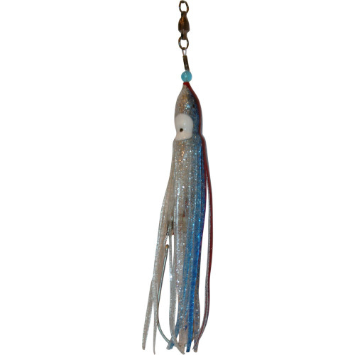 Squid Skirt Hoochie Lure - Blue Red & Silver