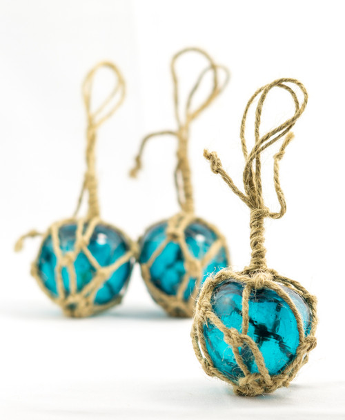 Nautical Crush Trading Aqua Glass Float on a String Perfect for Beach Weddings or as Christmas Ornaments 5 Floats on a String String Fishing Buoy Balls 2