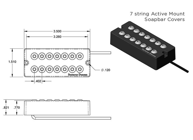 Seymour Duncan SH-8 Invader 7 String Neck Humbucker Active Mount Soapbar  black