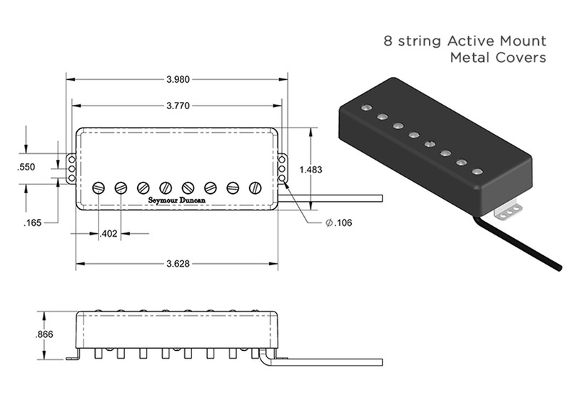 seymour duncan pegasus 8 string bridge humbucker passive mount black  metal